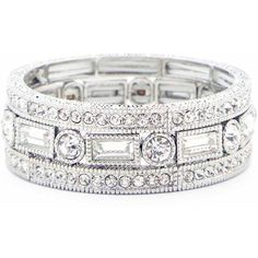 Sole Society Pave Stretch Bracelet Set (€46) ❤ liked on Polyvore featuring jewelry, bracelets, rings, silver, cuff jewelry, pave bangle, stretch jewelry, sparkle jewelry and sole society