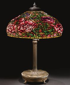 "Tiffany Studios, ""Elaborate Peony"" table lamp, leaded glass and patinated bronze, circa 1910"