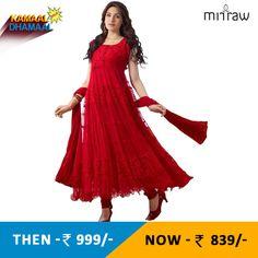 Red hot long anarkali suit - designer salwar kameez. Shop Now- http://bit.ly/1LAKUar
