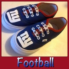 Do this on keds get logo stencil NY Giants football shoes. 6475d4458