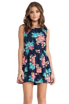 Lucca Couture Mini Ruffle Tank Dress in Navy Floral from REVOLVEclothing