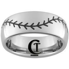 8mm Tungsten Carbide Band Dome Baseball Ring by CustomTungsten, $49.00