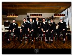 groomsmen picture at the bar