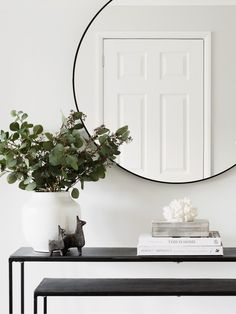 Black Round Mirror - Seconds Black Round Mirror – Hudson Home Mirror Above Fireplace, Entryway Mirror, Entryway Decor, Wall Mirror, Mirror Room, Round Bathroom Mirror, Mirror Hanging, Entrance Decor, Black Round Mirror