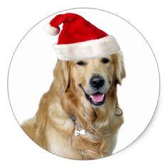 Labrador christmas-santa claus dog-santa dog-pet classic round sticker - christmas craft supplies cyo merry xmas santa claus family holidays