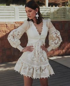 Hollowed Out Embroidered Lantern Dress s. Cheap Dresses, Short Dresses, Mini Dresses, Elegant White Dress, White Lace, Boho Fashion, Fashion Dresses, Bohemian Mode, Bohemian Clothing