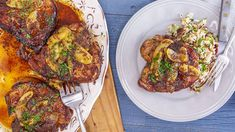 Maple-Mustard Chops with Apples and Fancy Rice with Cranberries Recipe