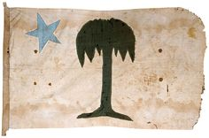 Militia Unit Flag, likely that of the Palmetto Guard which was formed after South Carolina seceded from the Union. Bloodstains on the flag indicate combat use