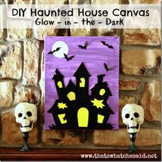Haunted House Canvas Art! Create a spooky scene with a canvas, dollar tree place mat and glow in the dark #Modpodge