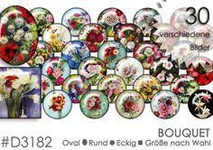 Cabochon Vorlagen Cabochonbilder Cabochon Download *BOUQUET*    30 verschiedene Bilder mit Bouquets und Blumensträußen.  Die Cabochonvorlagen sind von 8 - 30 mm bzw. 10x14 bis 30x40...