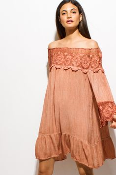 DAYDREAM MIDI | rust orange crochet lace off shoulder quarter sleeve tiered boho swing midi dress - 1015store.com