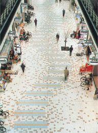 Shopping mall in Hyogo town, Takamatsu - decorative paving