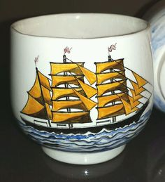 #Sake Tea Cups Set 4 Japanese Nanban Portuguese Trade Sail #Ships Signed Artist Ngo Liem