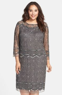 Pisarro Nights Beaded Bateau Neck Shift Dress (Plus Size) available at #Nordstrom