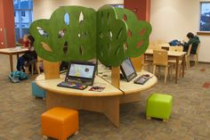 TMC Furniture children's whimsical table carrel  with Zetty Stools. Perfect for the kids corner reading,  waiting area of a hospital, hotel playroom, or library media center.