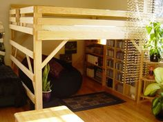 add beaded curtain to loft bed for privacy screen.