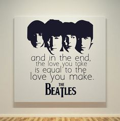 The Beatles - The End Song Quotes - 20X20 Canvas Frame - Pop Art Painting - Black & White on Etsy, $60.00