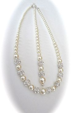 Pearl necklace ~ Backdrop ~ Brides necklace ~ Backdrop wedding necklace ~ Bridal jewelry ~ Swarovski pearls and crystals fireballs ~DESTINY