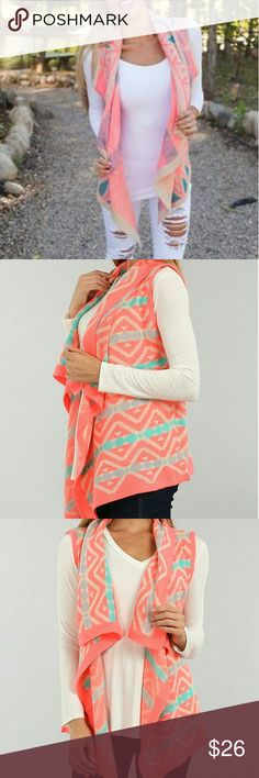 << Neon Coral Tribal Pattern Vest Cardigan >> How adorable is this bright coral tribal pattern vest! This will add a bright and cute touch to any outfit!  Open front, so sizes are loose. (Can possibly fit a size smaller or bigger)  25% mohair, 75% acrylic Boutique  Jackets & Coats Vests