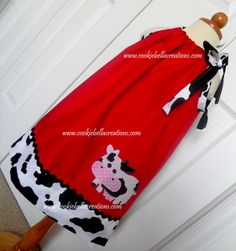 Sweet Barnyard Cow Red & Cow Print pillow case dress. Perfect for a farm themed birthday party