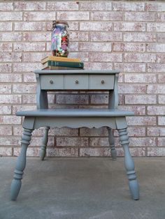 Maison Blanche Vintage Furniture Paint: Franciscan Grey and Dark Brown Wax by Paula.