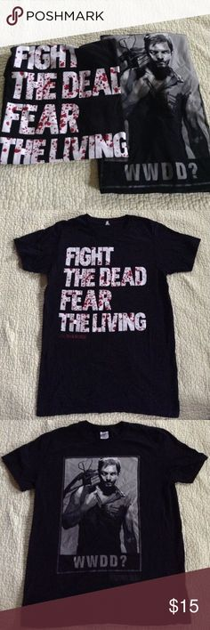 2 Walking Dead T-Shirts!! Both shirts are in excellent condition, neither one has been worn more than twice. FEAR THE WALKING DEAD is a size small. WWDD is a size medium. Hot Topic Shirts Tees - Short Sleeve