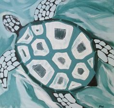 TABLEAU PEINTURE Animaux vert mer Madagascar Animaux Acrylique  - Tortue de mer
