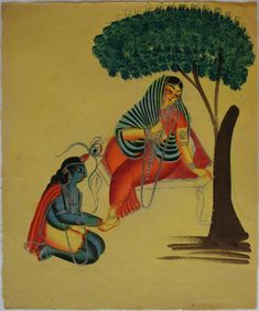 Kalighat collection: Krishna in deference to Radha. Watercolour on paper. Circa 3rd quarter 19th century. 25.5 x 21.6cm