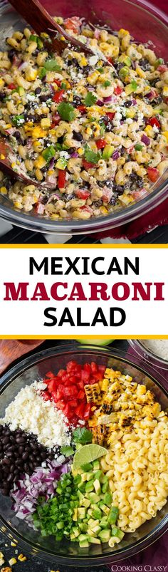 Mexican Macaroni Salad - just so much goodness going on in this salad between the tender macaroni, charred fresh corn, sweet tomatoes, salty Cotija cheese, creamy black beans and avocados, the light bite from the red onion and the zip from the cilantro lime dressing,