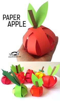 Paper apple craft for kids Summer Crafts For Kids, Projects For Kids, Art For Kids, Craft Projects, Apple Activities, Activities For Kids, Autumn Activities, Autumn Crafts, Holiday Crafts
