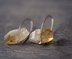 Modern Simple Citrine Earrings14K Goldfilled Hook earrings Organic Minimalist design sparkling honey yellow