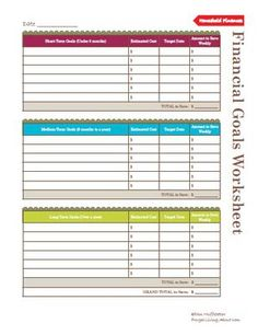 26 Printables to Help You Save Money: Printable Financial Goals Worksheets