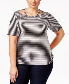 Michael Michael Kors Plus Size Striped Cutout T-Shirt - Black