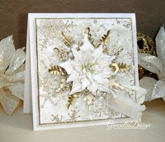 Graciellie Design: Dreaming of a White Christmas gilded & elegant christmas card - Handmade flowers and stamped background