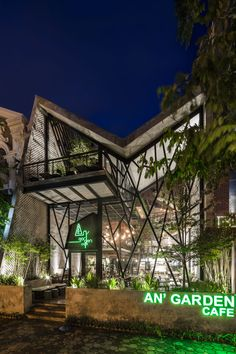 Image 36 of 60 from gallery of An'garden Café / Le House. Photograph by Hiroyuki Oki Coffee Shop Design, Cafe Design, Patio Design, Garden Design, House Design, Kiosk Design, Café Exterior, Exterior Design, Green Cafe
