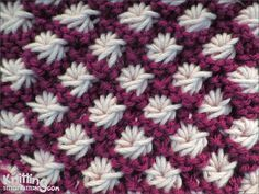 Video tutorial and written instructions on how to knit the Aster flower stitch