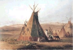 Assiniboine Camp...The tipi in the foreground was the dwelling of the Chief, has large bear figures painted on it and is much larger than the other tipis. Karl Bodmer painted this picture in 1833 and he depicts here, some ofthe many dogs that shared their lives with theIndians.