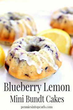 Lemon Blueberry Mini Bundt Cake Recipe - Special Cake and Cooking Mini Desserts, Delicious Desserts, Dessert Recipes, Mini Cake Recipes, Protein Desserts, Easter Desserts, Dessert Cups, Diabetic Desserts, Lemon Recipes