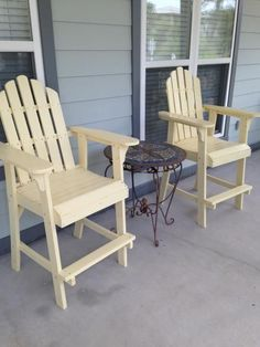 Porch chairs for beach house.This solid natural wood chair makes a great addition to any yard, deck or patio. The high back, wide seat and arm rests make it a perfect place to while away an afternoon. Made of long-lasting, low maintenance cedar/fir (Cunni