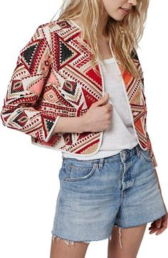 Topshop Geo Embroidered Jacquard Jacket available at #Nordstrom