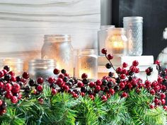 Frosted glass jars with candles ..simply lovely .