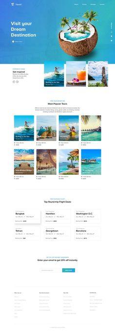Travel Agency Website, Travel Website Design, Web Design Mobile, Travel News, Travel Tourism, Landing Page Design, Web Layout, Web Design Inspiration, Marketing Digital