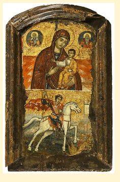 Icon in Two Registers: The Virgin and Child With Two Bishops and St George and the Dragon     Central or Northern Greek   18th century   Panel: 32.5 x 20.4 cm