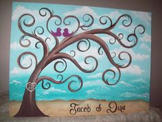 27 Best Ideas For Diy Wedding Guest Book Canvas Thumbprint Tree Thumbprint Tree, Dame Nature, Wine And Canvas, Couple Painting, Paint And Sip, Tree Art, Painting Inspiration, Diy Art, Painting & Drawing