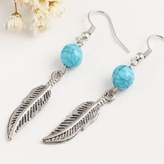 Wallmart.win Retro Blue Stone Bead Earrings jewelry Feather Earrings For Women Jewelry gift ER023: Vendor: Wallmart Type: Drop Earrings…