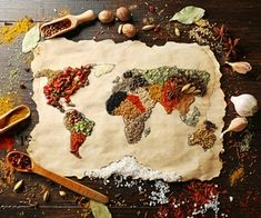 World Map Made of Various Spices Photographic Print on Canvas East Urban Home Size: L x W - Size: Large Black Round Dining Table, World Health Day, Organic Herbs, Placemat Sets, Food Safety, Napkins Set, Rustic Design, Decoration, Bunt