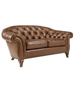 "Lauren Ralph Lauren Leather Loveseat, Lyndon 69""W x 37""D x 34.5""H - Sofas - furniture - Macy's"