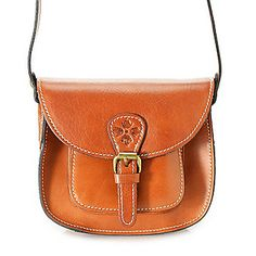 """Patricia Nash """"Argos"""" Leather Flap-over Buckle Detailed Cross Body Bag"""