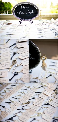 vintage key wedding favors.  I live the concept of having the name tag attached to something cute and little.