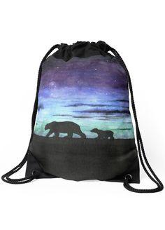 """Aurora borealis and polar bears (dark version)"" Drawstring Bag by Savousepate on Redbubble #drawstringbag #backpack #bag #watercolorpainting #blue #purple #green #black"